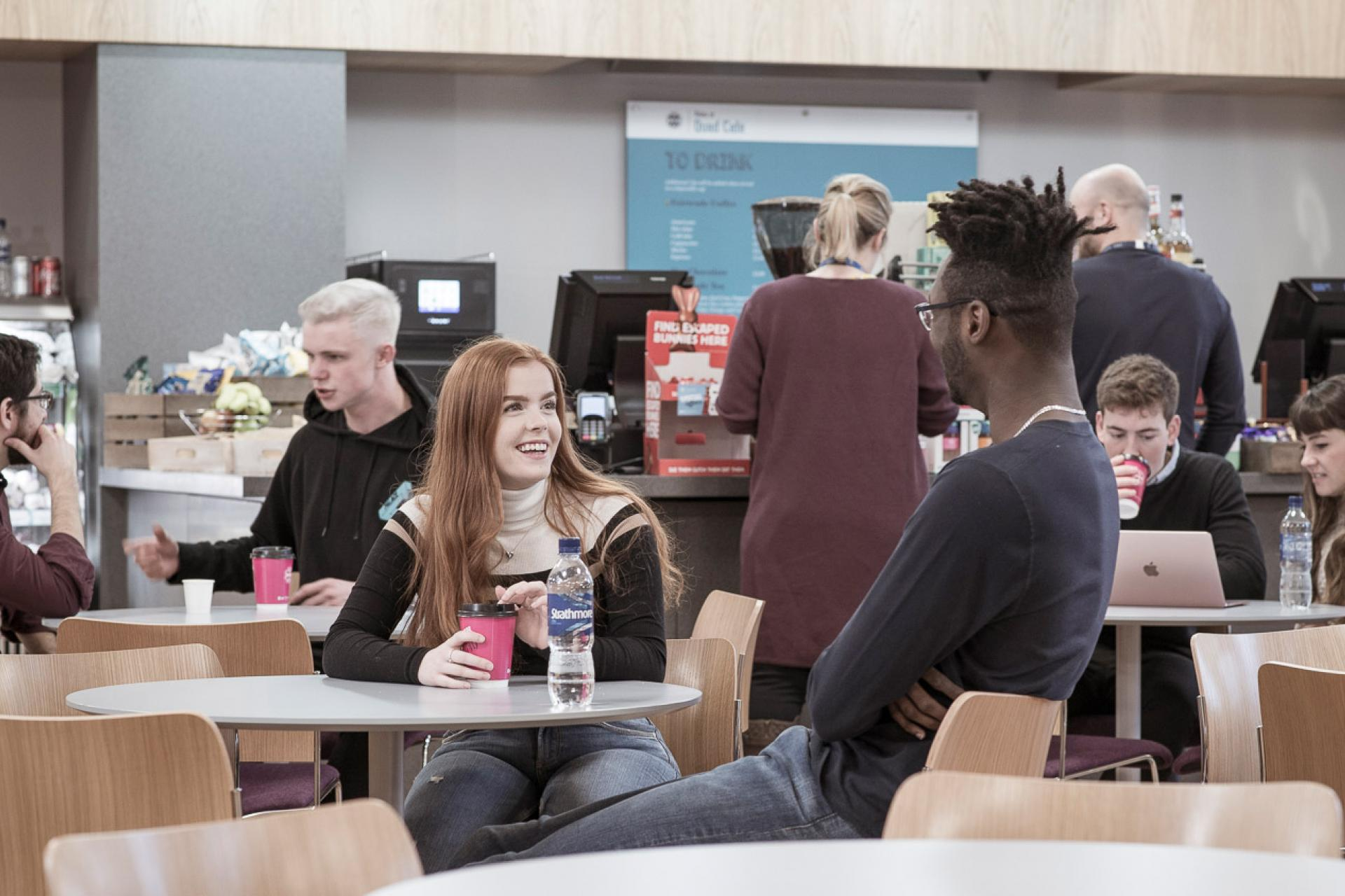 Students in the Edinburgh Law School cafe