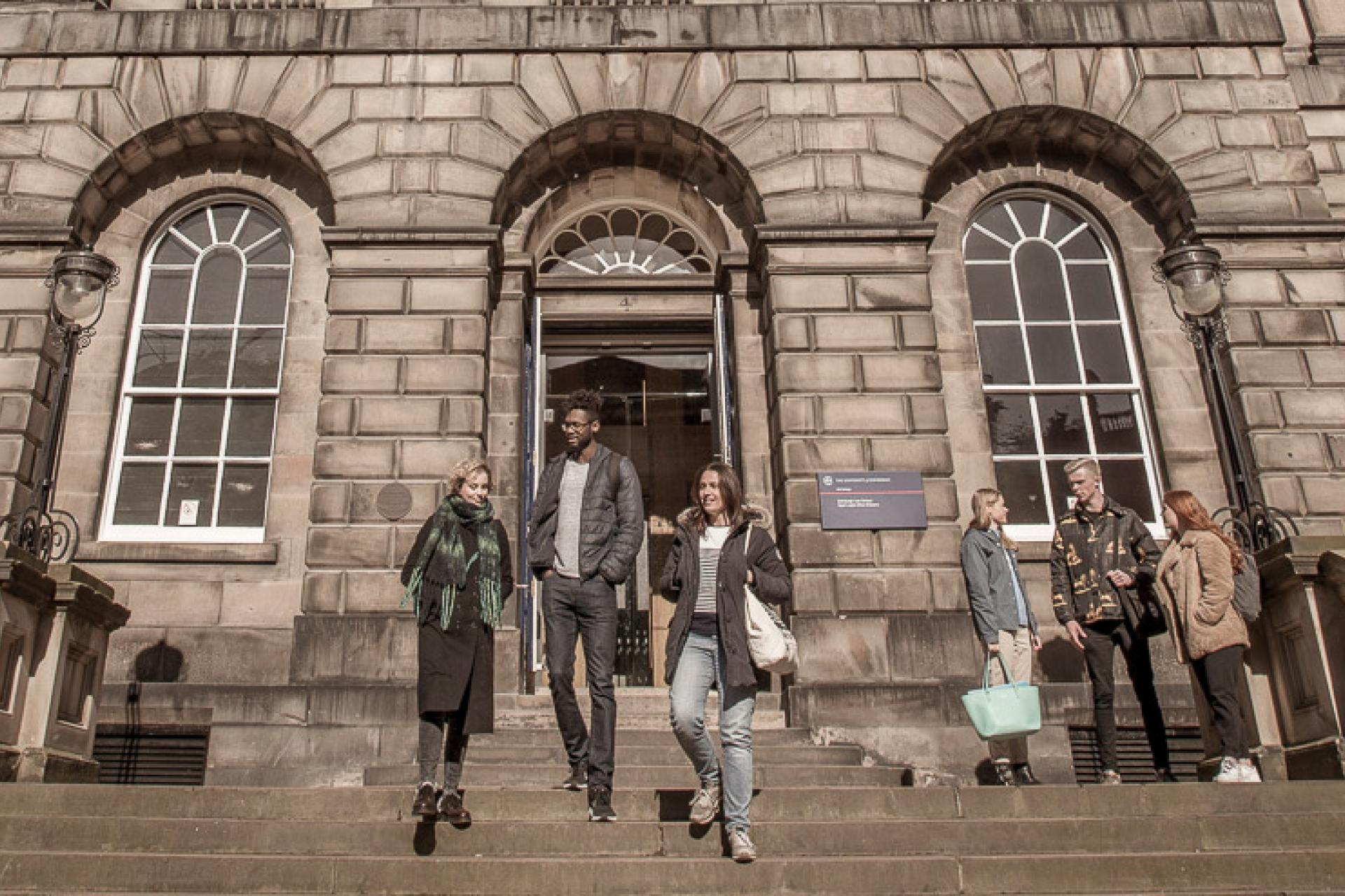 Students outside Old College, Edinburgh Law School