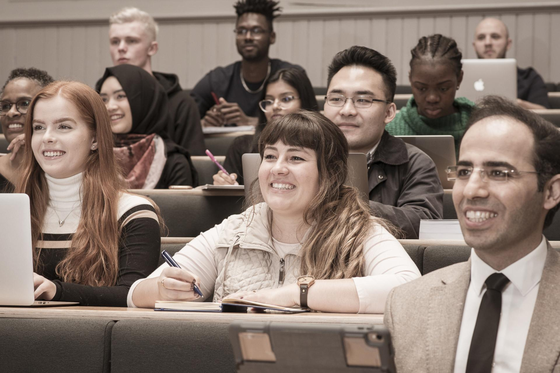 Students in a lecture at Adam Lecture Theatre