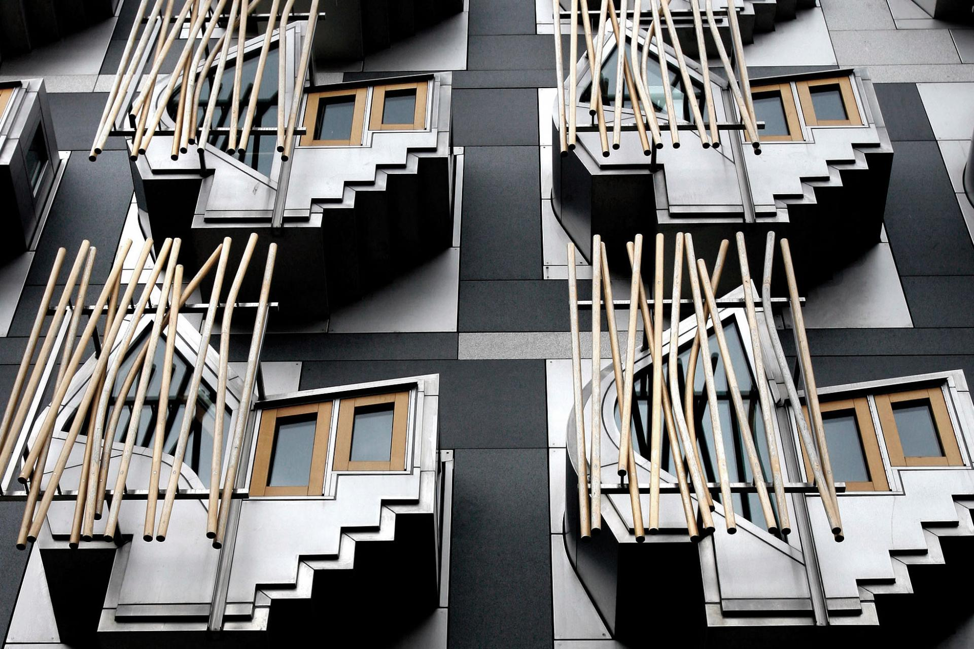 Windows of the Scottish Parliament building