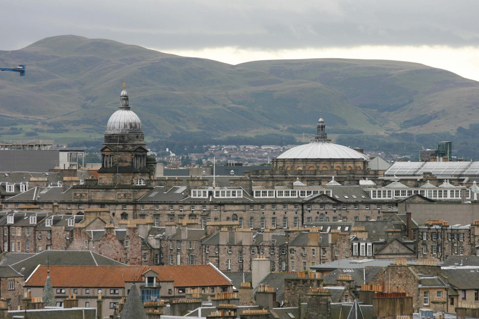 The domes of Old College and the McEwan Hall