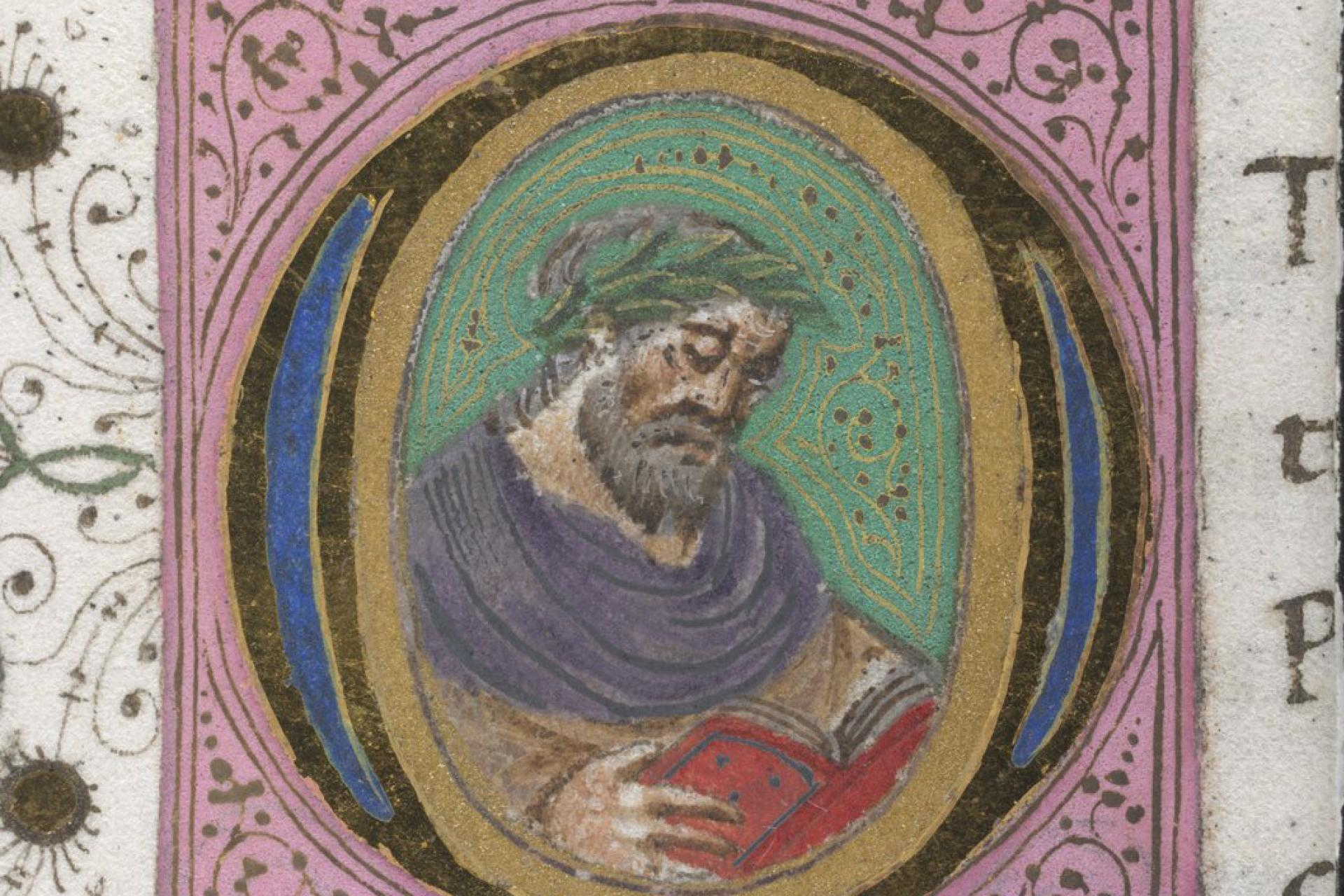 Detail of a historiated initial with a portrait of a famous man, at the beginning of a biography. BL MS Harley 3485. f. 122