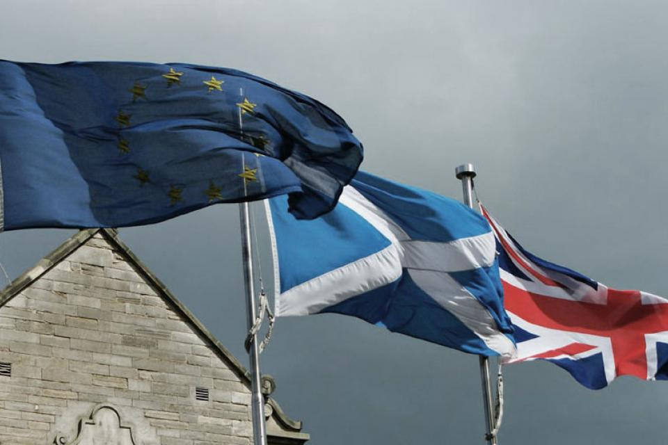 EU, Scotland and UK flags