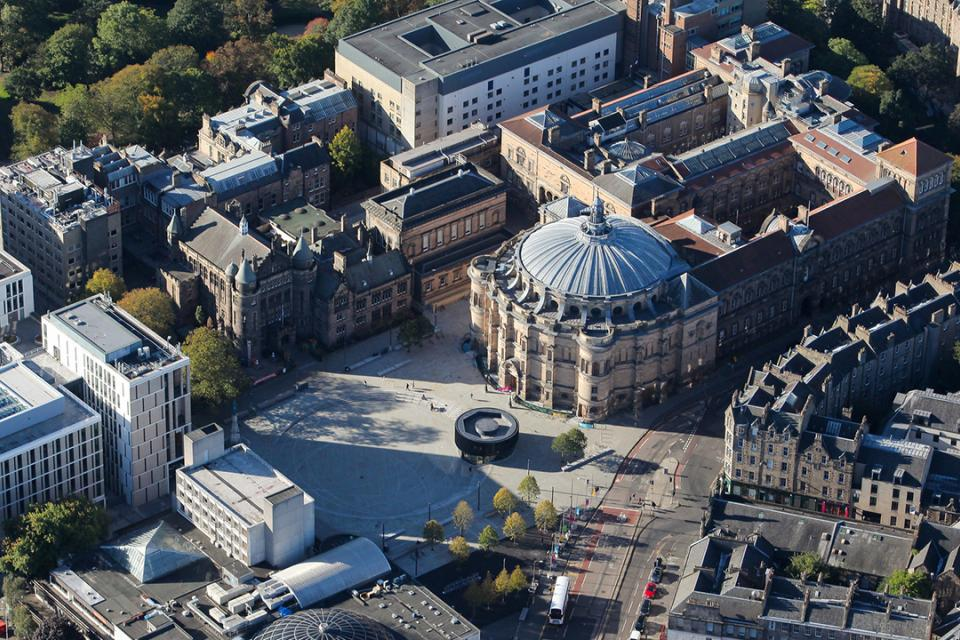 Aerial view of the University of Edinburgh central campus