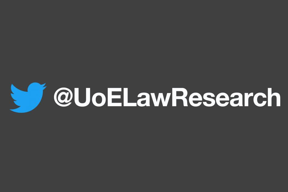 Twitter logo and username @UoELawResearch